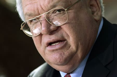 File photo of House Speaker Dennis Hastert speaking during a news conference in Batavia Illinois