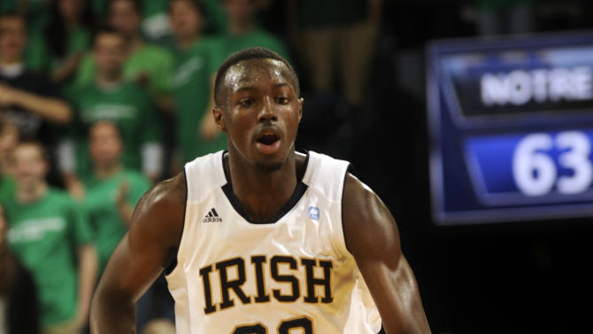 Notre Dame guard Jerian Grant heads up court in the second half of an NCAA college basketball game with West Virginia Wednesday, Feb. 22, 2012, in South Bend, Ind. Notre Dame won 71-44 with Grant leading all scorers with 20 points. (AP Photo/Joe Raymond)