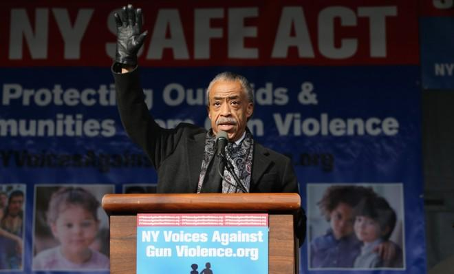 Al Sharpton pushes for gun control during a rally in Harlem on March 21.
