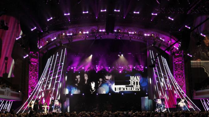 General view of the stage as Joan Jett and the Blackhearts are inducted during the 2015 Rock and Roll Hall of Fame Induction Ceremony in Cleveland