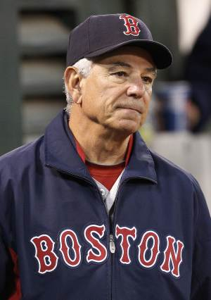 Boston Red Sox manager Bobby Valentine watches the game against the Oakland Athletics in the seventh inning of a baseball game Saturday,  Sept. 1, 2012 in Oakland, Calif. Oakland won 7-1. (AP Photo/ Tony Avelar)