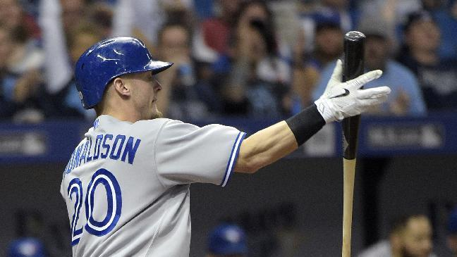 Toronto Blue Jays' Josh Donaldson (20) slaps his bat in the air after striking out during the eighth inning of a baseball game against the Tampa Bay Rays in St. Petersburg, Fla., Saturday, April 25, 2015. The Rays won 4-2.(AP Photo/Phelan M. Ebenhack)