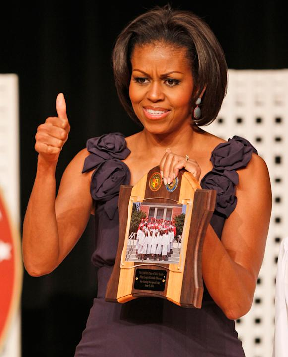 Michelle Obama delivers a commencement address for the Quantico Middle/High School in Quantico, Va., June 3, 2011.