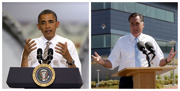 This combination of Associated Press file photos shows from left, President Obama speaking at the TPI Composites Factory, a manufacturer of wind turbine blades on May 24, 2012, in Newton, Iowa,  and R