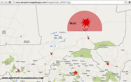 A screengrab of the homepage of the Ouagadougou airport's Internet site (http://www.aeroport-ouagadougou.com) shows a map displaying AH5017's last contact zone