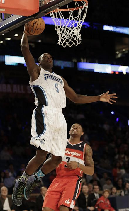 Team Webber's Victor Oladipo of the Orlando Magic shoots against Team Hill's Dion Waiters of the Cleveland Cavaliers during the Rising Star NBA All Star Challenge Basketball game, Friday, Feb.