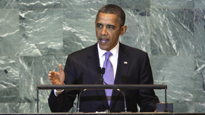"FILE - In this Sept. 21, 2011, file photo President Barack Obama addresses the 66th session of the United Nations General Assembly. When the world's leaders gather in New York next week for the 67th session Obama has no plans to meet privately with any of them. He will, however, make time for ""The View,"" a freewheeling TV talk show more likely to reach voters than Obama would with the diplomacy he is skipping at the United Nations. (AP Photo/Richard Drew, File)"
