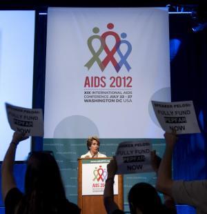 House Minority Leader Nancy Pelosi of Calif. speaks at the 2012 International AIDS Conference, Friday, July 27, 2012, in Washington. (AP Photo/Haraz N. Ghanbari)
