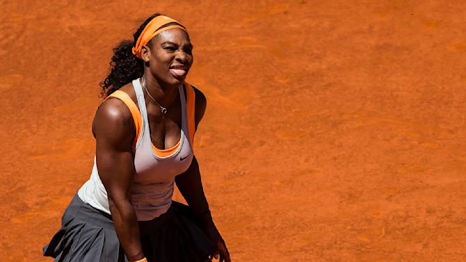 Serena Williams from U.S. reacts on her way to win a Madrid Open tennis tournament match against Victoria Azarenka from Belarus in Madrid, Spain, Wednesday, May 6, 2015. (AP Photo/Daniel Ochoa de Olza)