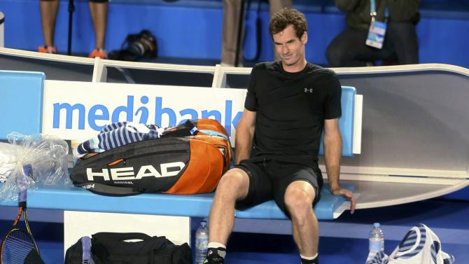 Andy Murray of Britain reacts after defeating Grigor Dimitrov of Bulgaria in their men's singles fourth round match at the Australian Open 2015 tennis tournament in Melbourne