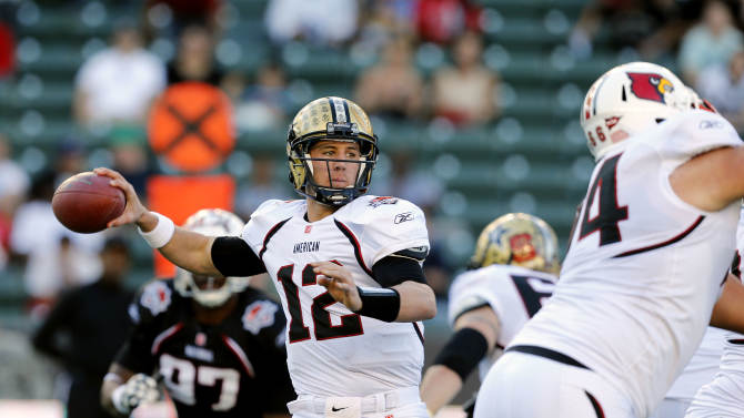 American team quarterback Jordan Rodgers (12) of Vanderbilt throws a pass during the NFLPA Collegiate Bowl on Saturday, Jan. 19, 2013 in Carson, Calif. (Ric Tapia/AP Images for NFLPA)