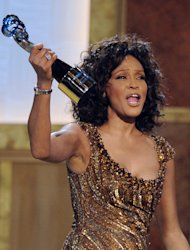 FILE - In this Saturday, Jan. 16, 2010 picture, Whitney Houston accepts an award at the Warner Theatre during the 2010 BET Hip Hop Honors in Washington. Houston was the top trending search of the year, according to Google Inc. People around the globe searched en masse for news about the superstar singer&#39;s sad, accidental drowning (AP Photo/Nick Wass, file)