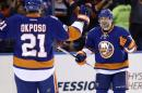 New York Islanders' Lubomir Visnovsky, right, celebrates with Kyle Okposo (21) after Okposo scored during the second period of Game 3 of a first-round NHL hockey playoff series against the Washington Capitals, Sunday, April 19, 2015, in Uniondale, New York. (AP Photo/Seth Wenig)