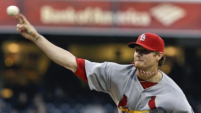 St. Louis Cardinals starting pitcher Shelby Miller works against the San Diego Padres in the first inning of a baseball game in San Diego, Monday, May 20, 2013. (AP Photo/Lenny Ignelzi)