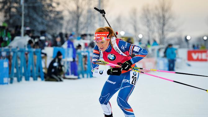 Gabriela Koukalova of Czech Republic in action during the women's 7,5km sprint race at the Biathlon World Cup in Ostersund