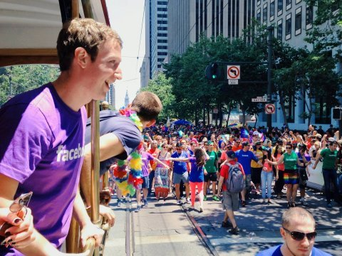 Mark Zuckerberg at san francisco gay pride parade