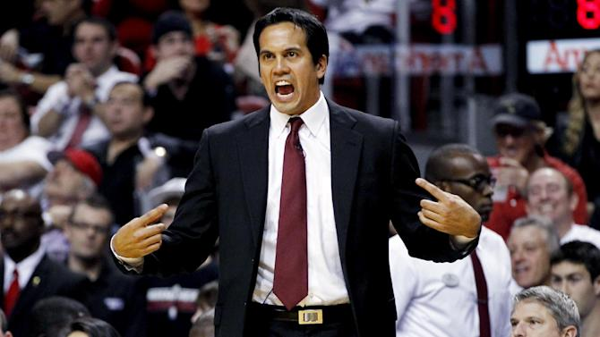 Miami Heat head coach Erik Spoelstra argues a call during the first half of an NBA basketball game against the Boston Celtics, Tuesday, Oct. 30, 2012, in Miami. (AP Photo/J Pat Carter)
