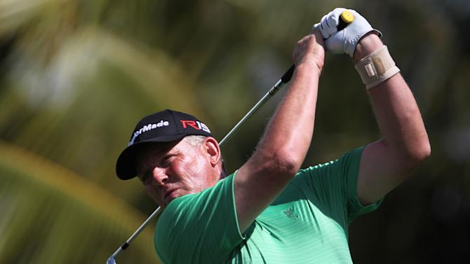 Michael Bradley of the U.S., watches his shot on the 10th tee during the second round of the Puerto Rico Open PGA golf tournament in Rio Grande, Puerto Rico, Friday, March 6, 2015. (AP Photo/Ricardo Arduengo)