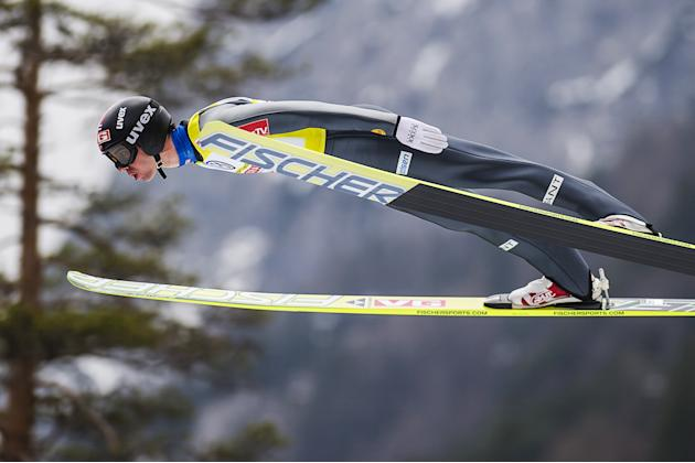 Norway's Martin Koch jumps during the FIS Ski Flying World Cup 2011-2012 in Planica on March 18, 2012.  AFP PHOTO / Jure Makovec (Photo credit should read Jure Makovec/AFP/Getty Images)