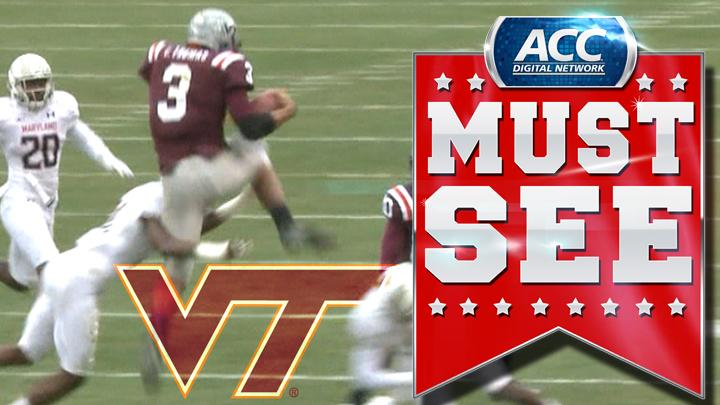 Virginia Tech's Logan Thomas Hurdles Defender During Run | ACC Must See Moment