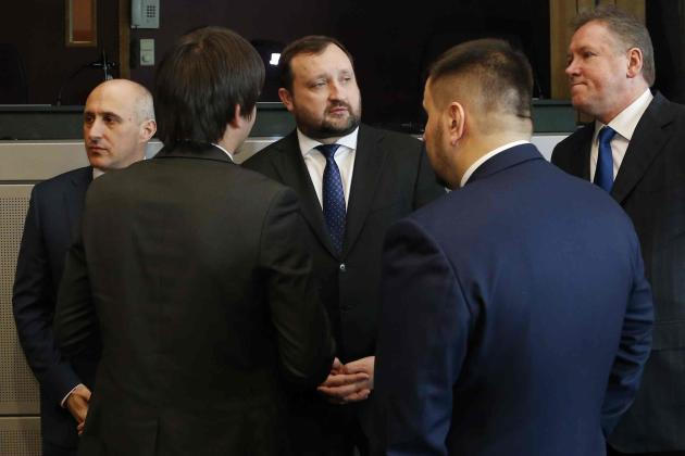 Ukraine's First Deputy Prime Minister Arbuzov waits for a meeting with EU Commissioner Fule in Brussels