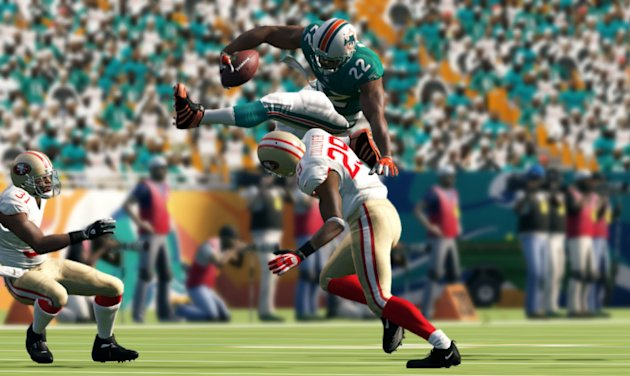 "This video game image released by EA Sports shows game action between the Miami Dolphins and San Francisco 49ers in ""Madden NFL 13."" (AP Photo/EA Sports)"