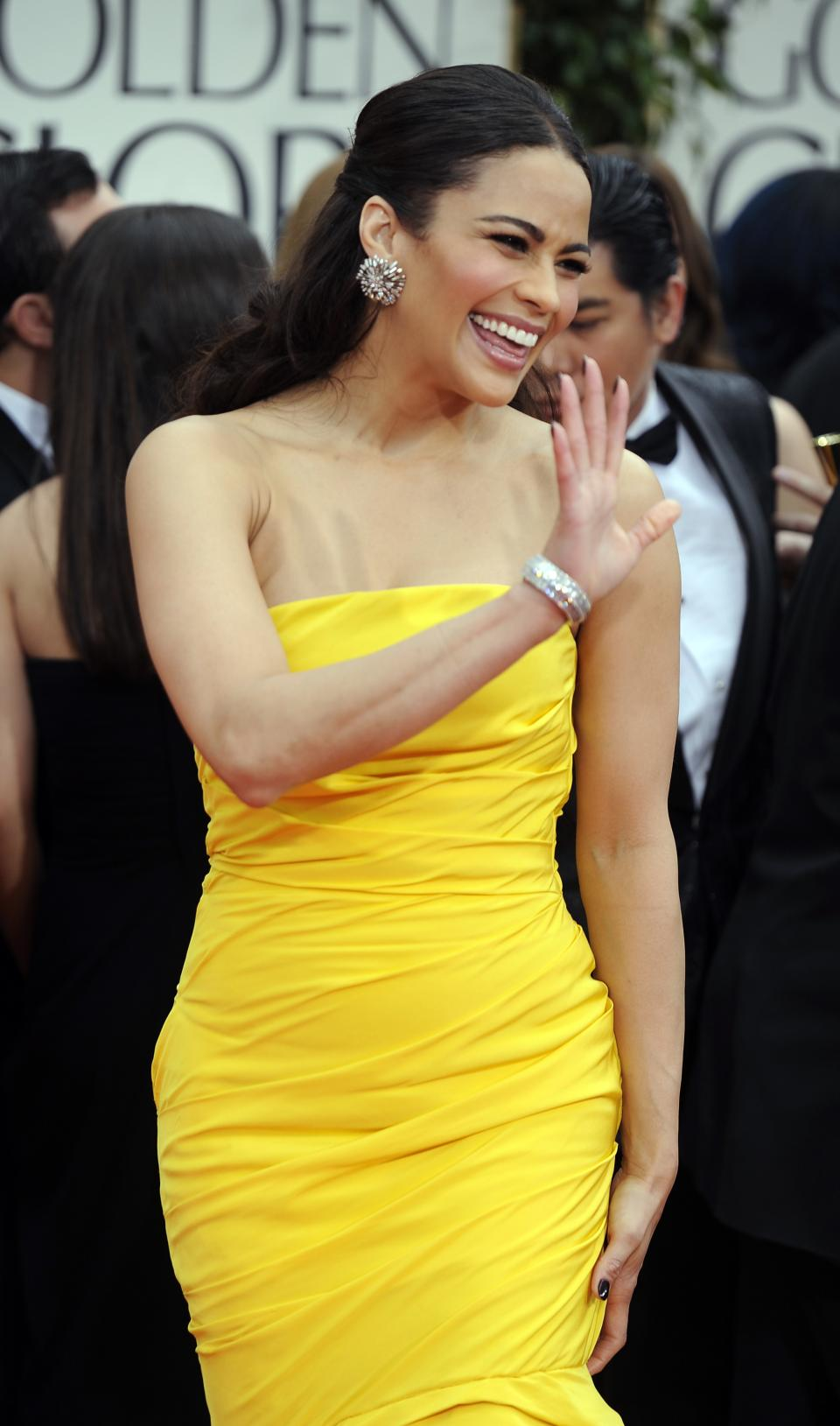 Paula Patton arrives at the 69th Annual Golden Globe Awards Sunday, Jan. 15, 2012, in Los Angeles. (AP Photo/Chris Pizzello)