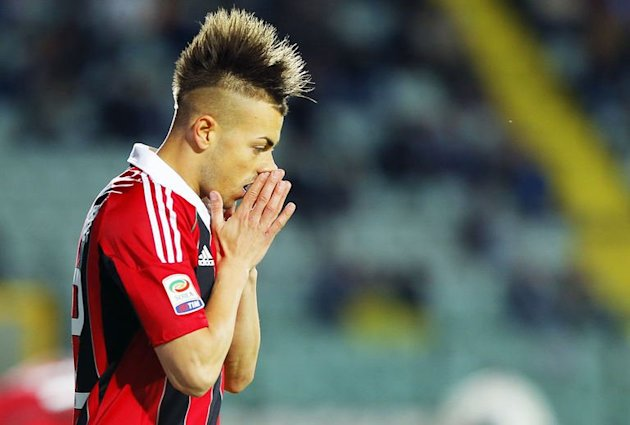 AC Milan's Stephan El Shaarawy reacts at the Artemio Franchi stadium in Siena on May 19, 2013