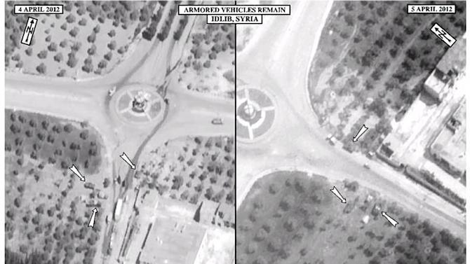This satellite image posted on the U.S. Embassy Damascus Facebook page Saturday, April 7, 2012, purports to show the presence of Syrian armoured vehicles in Idlib, Syria on April 5, right, next to imagery of the same area on April 4, left, according to information shown on the U.S. Embassy Damascus Facebook page. Syrian government shelling and offensives against rebel-held towns killed dozens of civilians across the country on Saturday, activists said, as the U.S. posted online satellite images of troop deployments that cast further doubt on whether the regime intends to comply with an internationally sponsored peace plan. (AP Photo/U.S. Embassy Damascus via Facebook)