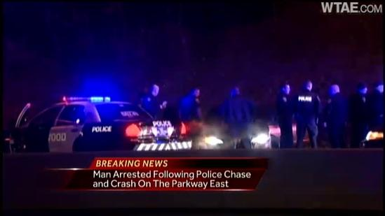 Parkway East driver arrested after chase, crash