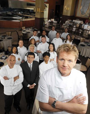 Head Chef Gordon Ramsay, his crew Scott, Jean-Philippe and Mary Ann (first row, L-R) and the contestants - Elsie, Jessica, Wendy (second row, L-R) Jeff, Carolann, James (third row, L-R), Andrew, Ralph