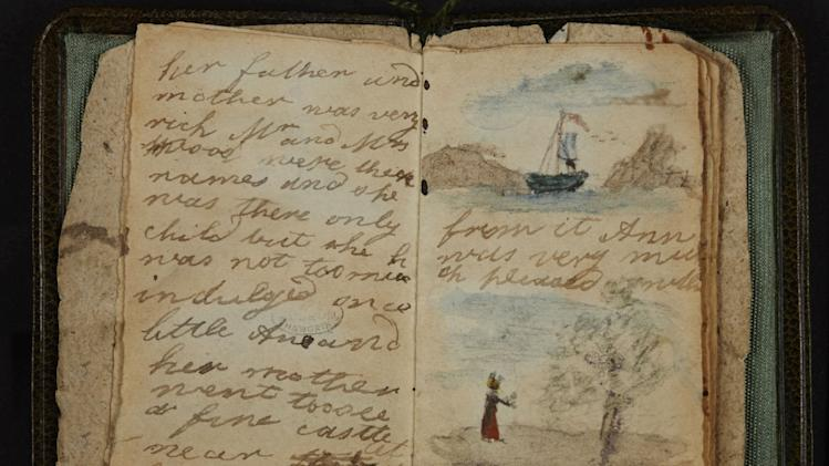 This undated image made available by The British Library in London, Friday, May 16, 2014, shows Charlotte Bronte's earliest known effort at writing, a short story written for Anne, the baby of the family. It it also the first of the little books made by the Bronte children and, as such, it does not reach the level of technical sophistication that they were later to achieve. The writing is a clumsy longhand, there is no title page or contents list and no attempt is made to imitate magazine format. The British Library is putting hundreds of its most valuable literary resources online, from the Bronte sisters' childhood writings to William Blake's notebook. (AP Photo/The British Library)