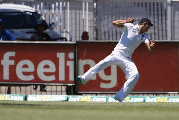 England's Kevin Pietersen takes a successful catch to dismiss Australia's George Bailey during the first day of the third Ashes cricket test at the WACA ground in Perth
