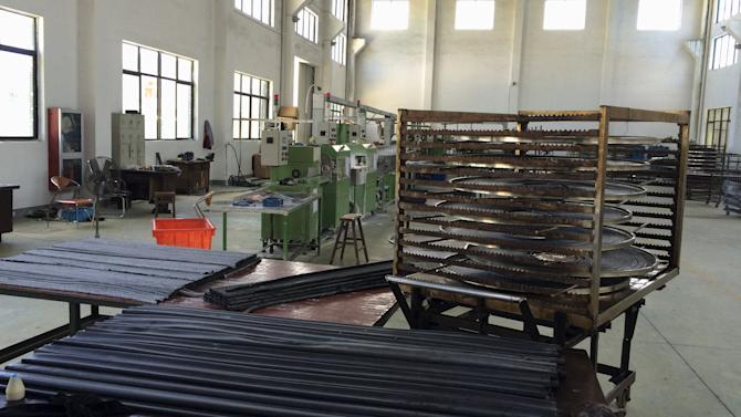 Rubber products are seen inside a factory in Ninghai
