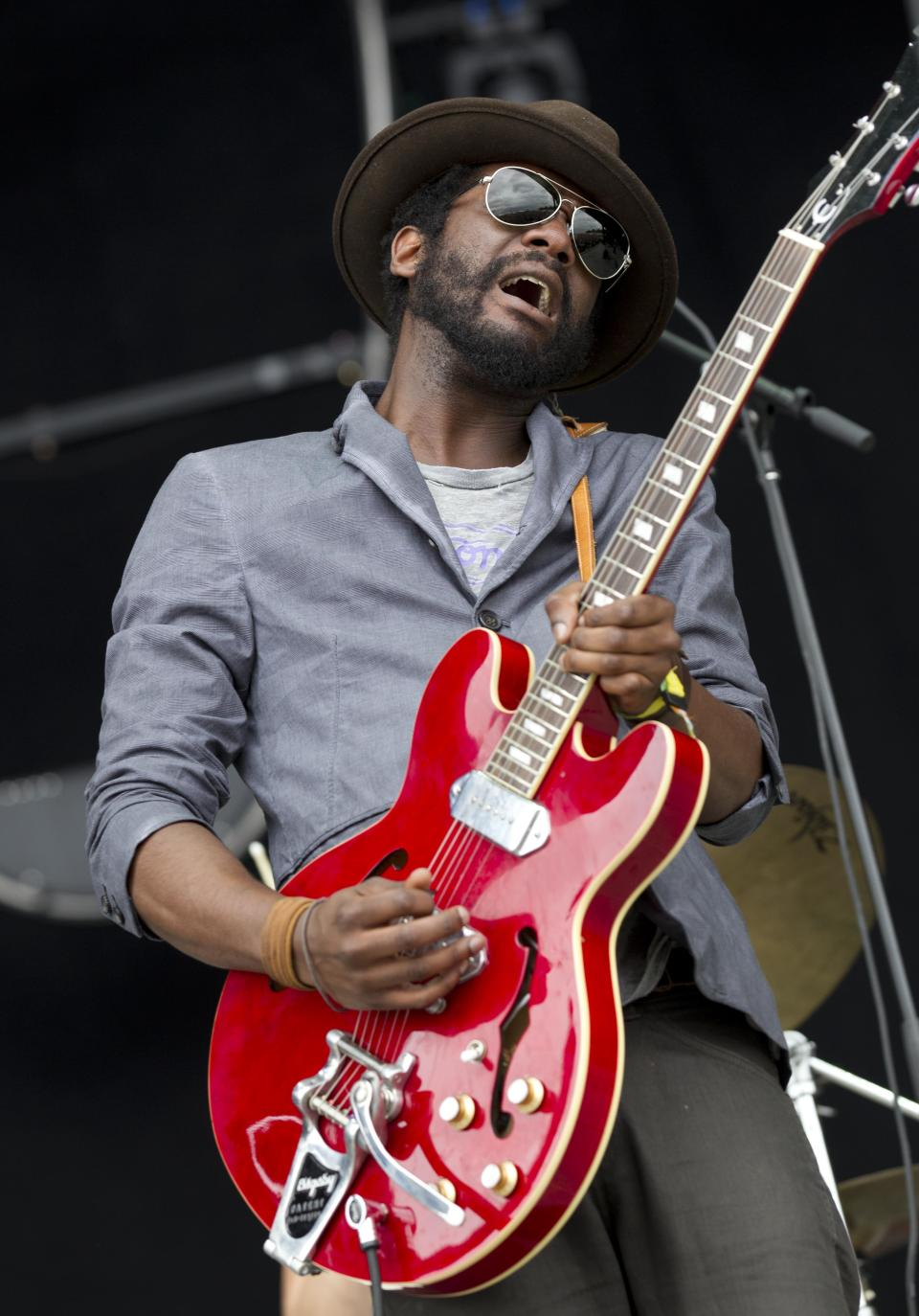 Gary Clark Jr. performs during the Bonnaroo Music and Arts Festival in Manchester, Tenn., Sunday, June 10, 2012. (AP Photo/Dave Martin)