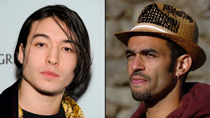 """FILE - This combination of undated file photos shows Ezra Miller, left, who stars in the recently released film """"The Perks of Being a Wallflower,"""" and hip hop producer Sol Guy, right. The two are appearing in a documentary-style film with Last Real Indians founder Chase Iron Eyes to try to raise $9 million by the end of November, 2012, to buy back a piece of land in South Dakota that Native American tribes consider sacred.  (AP Photos/file)"""