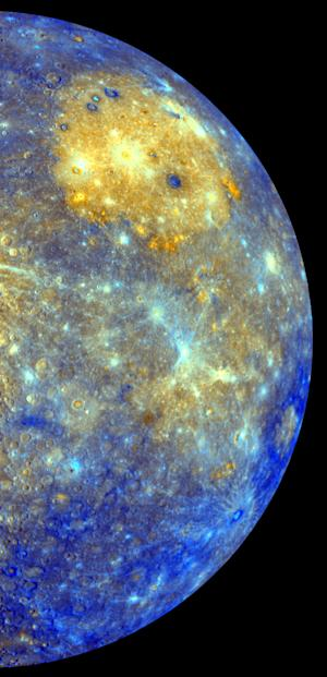 This image released by NASA shows an enhanced photo image of Mercury from its Messenger probe's 2008 flyby of the planet. NASA says it was a taste of pictures likely to come after March 17, 2011, when the probe enters Mercury's orbit. This photo shows the eastern part of the smallest and closest planet in our solar system. The colors in this picture are different than what would be seen with the naked eye, but show information about the different rock types and subtle color variations on the oddball planet. The bright yellow part is the Caloris impact basin, which is the site of one of the biggest in the solar system. Earth is about to get better acquainted with its oddball planetary cousin. (AP Photo/NASA/Johns Hopkins University Applied Physics Laboratory/Arizona State University/Carnegie Institution of Washington)