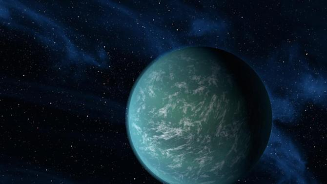 This undated handout artist rendering provided by NASA shows Kepler-22b, a planet known to comfortably circle in the habitable zone of a sun-like star. It is the first planet that NASA's Kepler mission has confirmed to orbit in a star's habitable zone -- the region around a star where liquid water, a requirement for life on Earth, could persist. NASA has found the new planet outside our solar system that's eerily similar to Earth in key aspects. Scientists say the temperature on the surface of the planet is about a comfy 72 degrees. Its star could almost be a twin of our sun. It likely has water and land.  (AP Photo/NASA/Ames/JPL-Caltech)