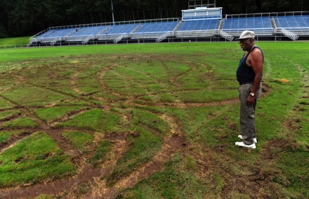 The damage at Ansonia High's Nolan Field &#x002014; Connecticut Post