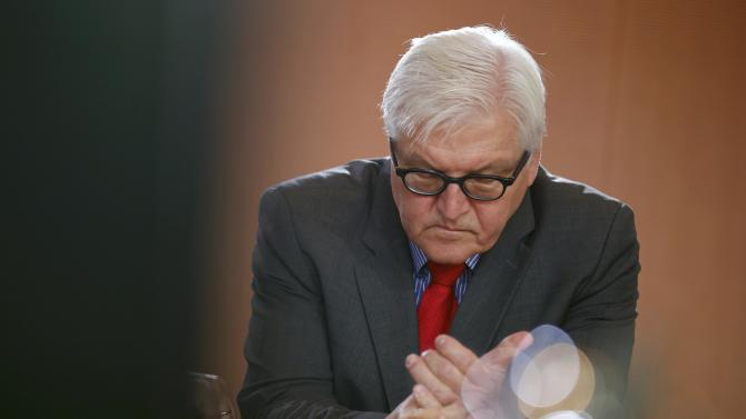 German Foreign Minister Steinmeier arrives for the cabinet meeting at the Chancellery in Berlin