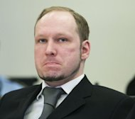Anders Behring Breivik, who killed 77 people in twin attacks in Norway last year, looks on during his trial on May 3. Muffled sobs filled an Oslo courtroom as a coroner read autopsy reports from the Utoeya island massacre and lawyers painted moving pictures of those who died, but Breivik showed no sign of emotion