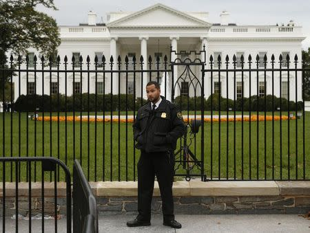 A member of the U.S. Secret Service stands guard in front of the North Lawn of the White House in Washington