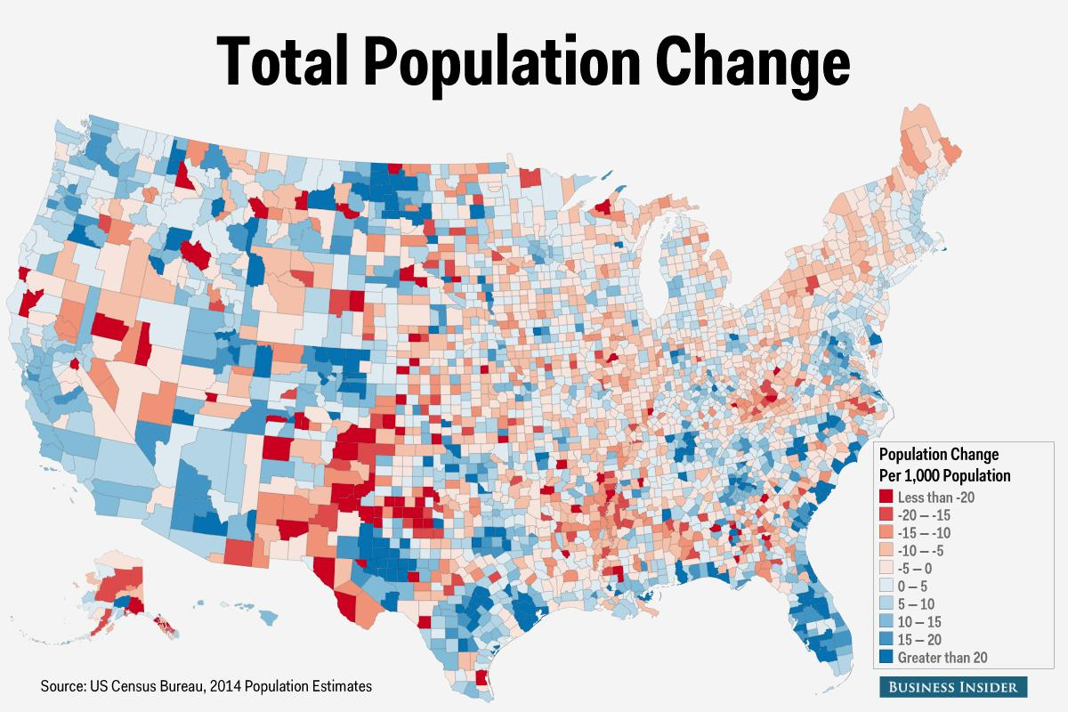 Here are the fastest growing and fastest shrinking counties in the US