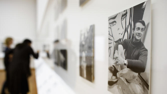 A photograph of artist Roy Lichtenstein taken by late actor, director and photographer Dennis Hopper is displayed at the exhibition 'Dennis Hopper - The Lost Album' at the Martin-Gropius-Bau museum in Berlin, Wednesday, Sept. 19, 2012. The exhibition shows a collection of 400 prints edited by Hopper, for the first time in Europe, and will be displayed from Sept. 20, 2012 until Dec. 17. 2012. (AP Photo/Markus Schreiber)