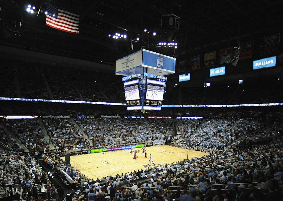 North Carolina and Florida State play during the first half of an NCAA college basketball game in the finals of the Atlantic Coast Conference tournament,  Sunday, March 11, 2012, in Atlanta. (AP Photo/Mike Stewart)