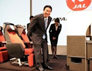 JAL President Yoshiharu Ueki, seen here on September 13, said the company would be focusing on profits rather than size after the flag-carrier marked a spectacular return from bankruptcy when its shares soared in early trade after relisting in Tokyo, three years after it became one of the nation&#39;s worst ever failures
