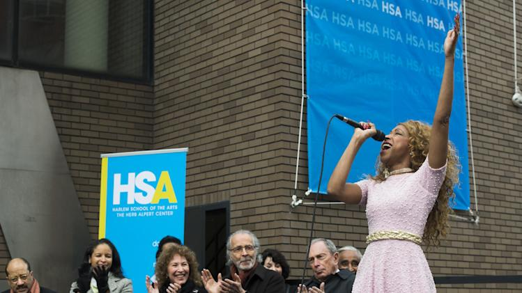 "N'Kenge sings at the ""Harlem School of the Arts - The Herb Alpert Center"" building naming ceremony, on Monday, March 11, 2013 in New York. (Photo by Charles Sykes/Invision for Harlem School of the Arts/AP Images)"