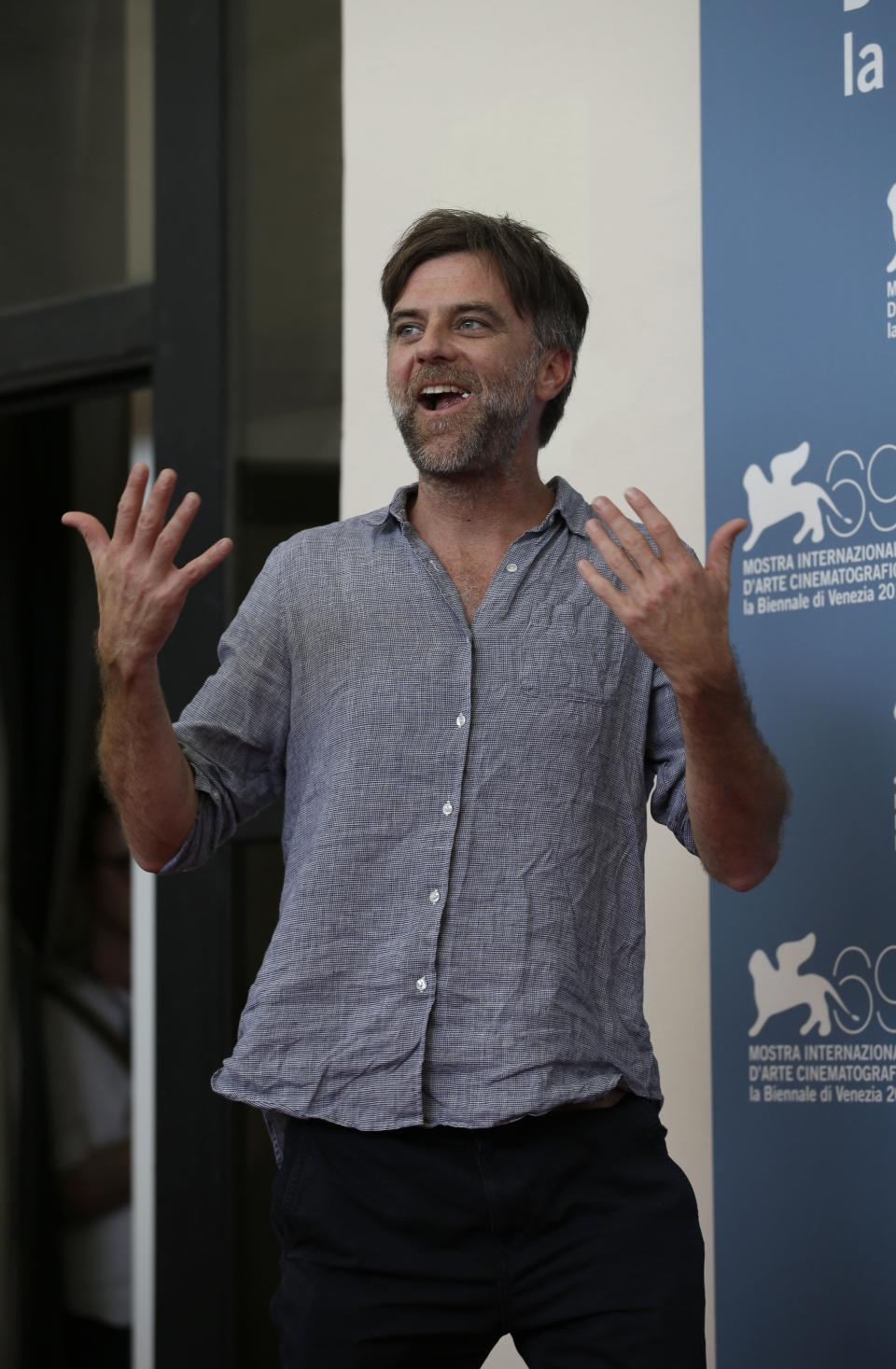 Director Paul Thomas Anderson arrives for the photo call for the film 'The Master' at the 69th edition of the Venice Film Festival in Venice, Italy, Saturday, Sept. 1, 2012. (AP Photo/Andrew Medichini)