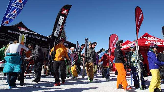 People attend the Outdoor Retailer All Mountain Demo at Solitude, Utah, Tuesday, Jan. 22, 2013.  (AP Photo/The Deseret News, Ravell Call)  SALT LAKE TRIBUNE OUT; PROVO DAILY HERALD OUT; MAGS OUT