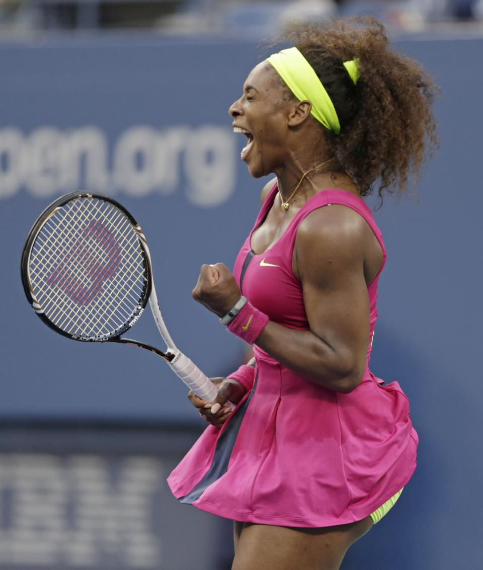 Serena Williams reacts after winning a semifinal match against Italy's Sara Errani at the 2012 US Open tennis tournament,  Friday, Sept. 7, 2012, in New York. (AP Photo/Charles Krupa)